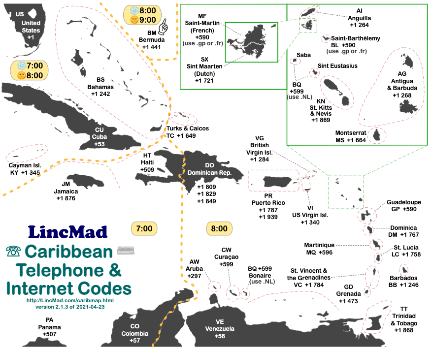 lincmads caribbean area code time zone map