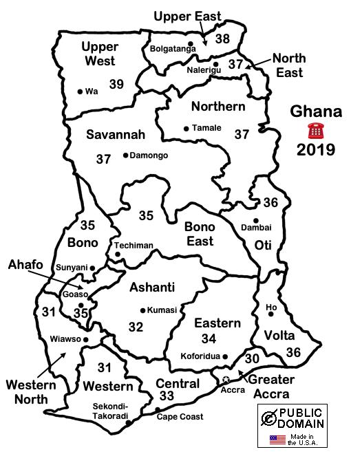 LincMads Ghana Telephone Area Code Map - 715 area code